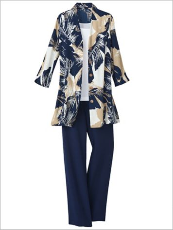 Silhouette Palm Duster & Textured Stretch Crepe Separates