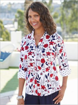 Foxcroft Floral Dot Delight 3/4 Sleeve Shirt