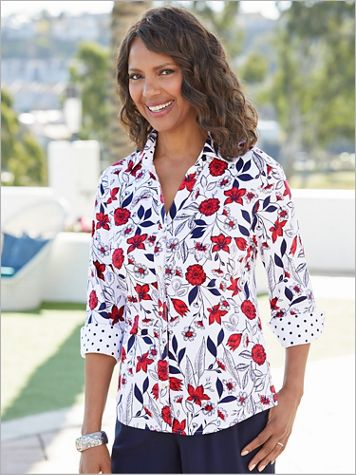 Foxcroft Floral Dot Delight 3/4 Sleeve Shirt - Image 0 of 1