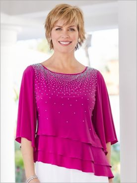 Embellished Triple Tiered Top by Alex Evenings