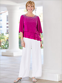 Embellished Triple Tiered Top & Chiffon Pants by Alex Evenings