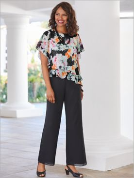 Alex Evenings Flirty Floral Flutter Sleeve Top & Georgette Pants