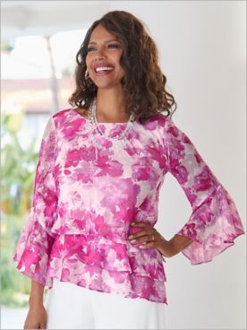 Alex Evenings Floral Bell Sleeve Special Occasion Tiered Top