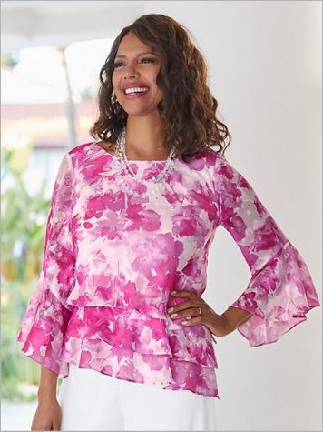 Alex Evenings Floral Bell Sleeve Special Occasion Tiered Top - Image 2 of 2