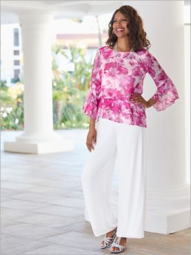 Floral Bell Sleeve Tiered Top & Chiffon Pants by Alex Evenings