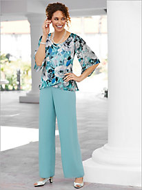 Tulip Hem Blouse & Chiffon Pants by Alex Evenings