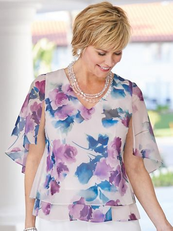 Alex Evenings Floral Shimmer Tiered Chiffon Special Occasion Top - Image 3 of 3