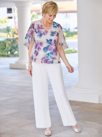 Floral Shimmer Tiered Top & Chiffon Pants by Alex Evenings