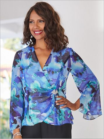 Alex Evenings Watercolor Side Closure Special Occasion Blouse