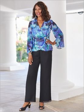 Alex Evenings Watercolor Side Closure Blouse & Georgette Pants