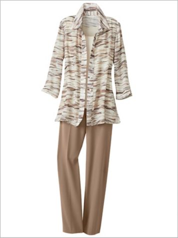 Brushstroke Stripe Shirt & Look-Of-Linen Separates