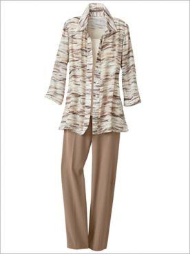 Brushstroke Stripe Shirt & Look-Of-Linen Separates