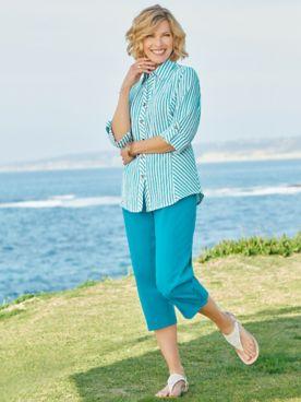 Del Mar Derby Stripe Shirt & Classic Comfort® Capris