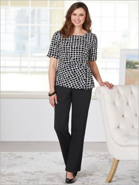 Windowpane Blouse & Ponte Pants by Brownstone Studio®