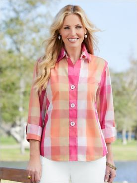 Foxcroft Sunrise Plaid 3/4 Sleeve Shirt