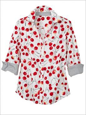 Foxcroft Wrinkle-Free Wild Cherry 3/4 Sleeve Shirt