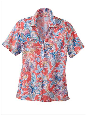 Floral Burnout Camp Shirt by Alfred Dunner - Image 2 of 2