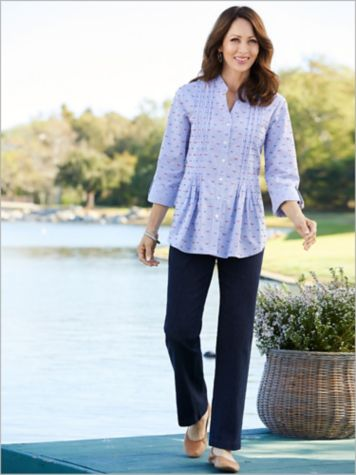 Gingham Clip Dot Shirt  & Slimtacular® Denim Pants