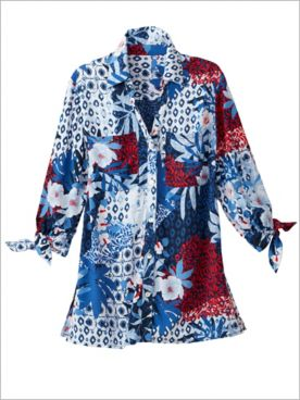 Patchwork Print 3/4 Tie Sleeve Top by Ruby Rd.