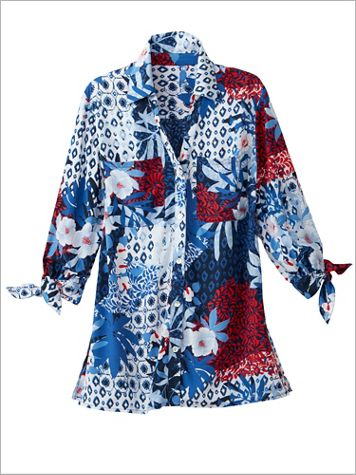 Patchwork Print 3/4 Tie Sleeve Top by Ruby Rd. - Image 2 of 2