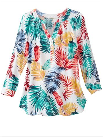 Tropical Leaves Print Top by Ruby Rd.