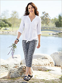 Metallic Gauze Tie Front Top & Spot On Capris