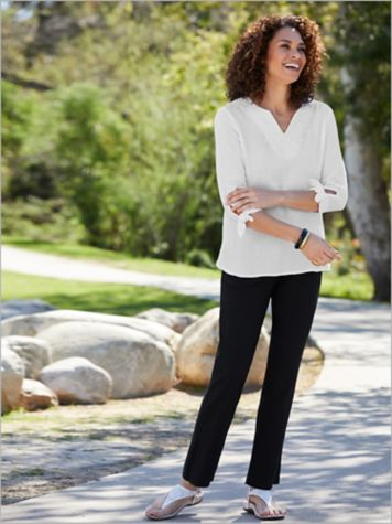 Embroidered Gauze Tie Top & Slimtacular® Ultimate Pants