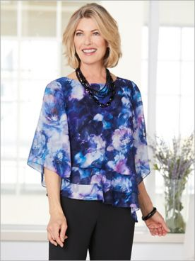 Alex Evenings Floral Burst Triple Tier Special Occasion Top