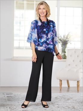 Alex Evenings Floral Burst Triple Tier Top & Geogette Pants