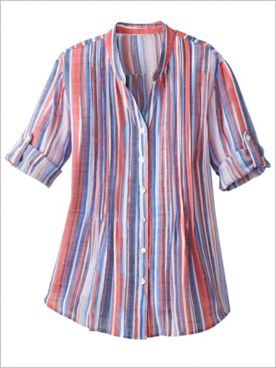 Ruby Road Multi Color Stripe Woven Shirt