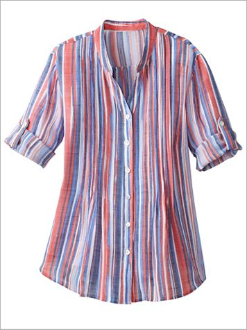 Ruby Road Multi Color Stripe Woven Shirt - Image 2 of 2
