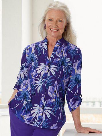 Woven 3/4 Sleeve Pintuck Palm Shirt - Image 3 of 3