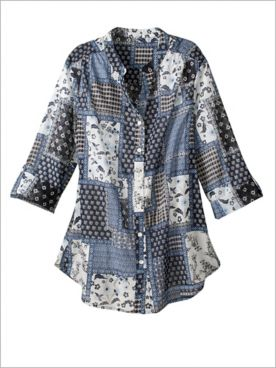 Singing The Blues Patchwork Shirt
