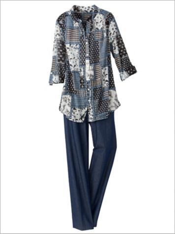 Singing The Blues Patchwork Shirt & Denim Tab Front Pants