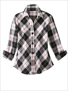 Foxcroft Checkmate Plaid 3/4 Sleeve Shirt