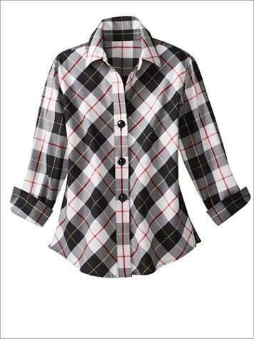 Foxcroft Checkmate Plaid 3/4 Sleeve Shirt - Image 2 of 2