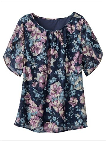 Floral Blooms Burnout Short Sleeve Blouse - Image 2 of 2
