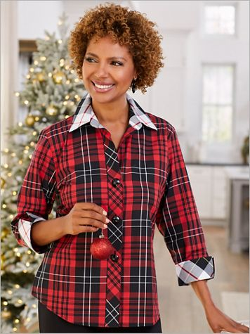 Foxcroft Wrinkle-Free Mix And Match Tartan Shirt - Image 2 of 2