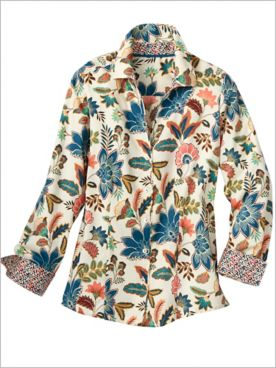 Foxcroft Fall Floral Long Sleeve Shirt
