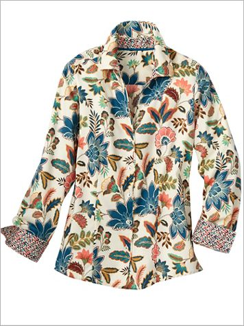 Foxcroft Fall Floral Long Sleeve Shirt - Image 2 of 2