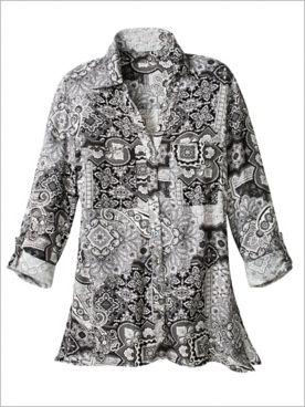 Ruby Rd. Paisley Tile Print Woven Shirt