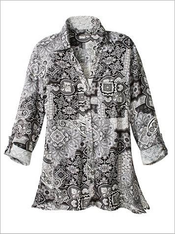 Ruby Rd. Paisley Tile Print Woven Shirt - Image 2 of 2