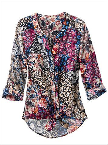 Ruby Rd. Kaleidoscope Print 3/4 Sleeve Tie Front Top - Image 1 of 1