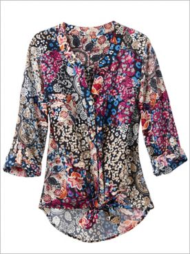 Ruby Rd. Kaleidoscope Print 3/4 Sleeve Tie Front Top
