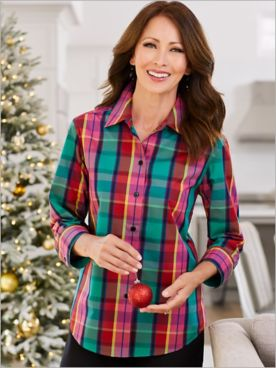 Foxcroft Gemstone Plaid Wrinkle Free 3/4 Sleeve Shirt