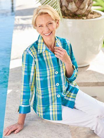 Foxcroft Bahama Plaid 3/4 Sleeve Shirt - Image 3 of 3