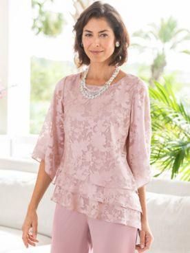 Alex Evenings Floral Tiered 3/4 Sleeve Top by Alex Evenings
