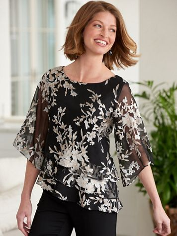 Alex Evenings Di-Vine Floral Tiered Top - Image 2 of 2