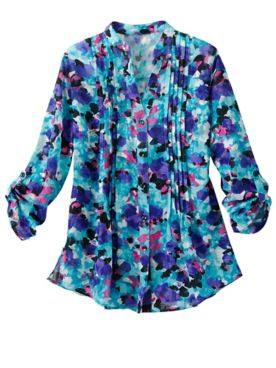 Abstract Floral Jacquard 3/4 Sleeve Shirt