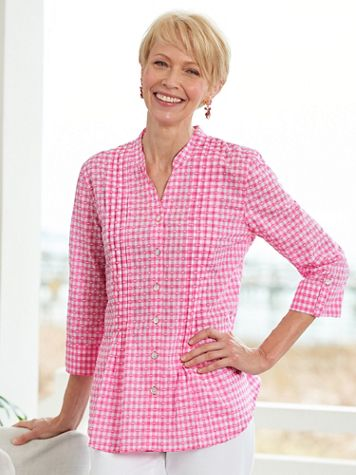 Clip Dot Gingham 3/4 Sleeve Woven Shirt - Image 1 of 1